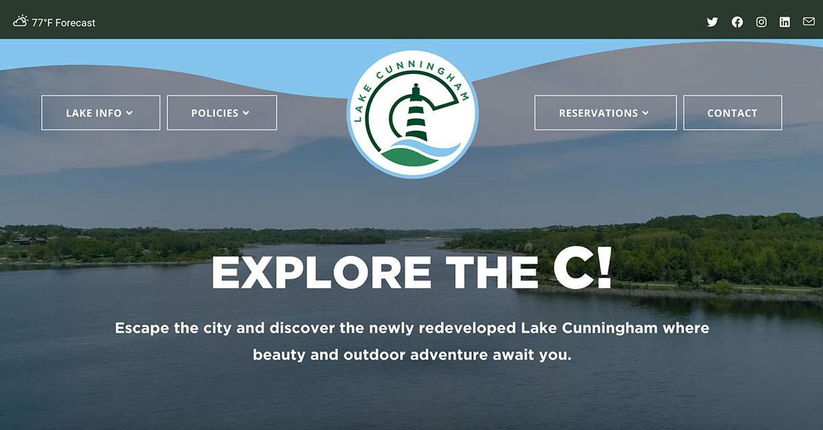 lake cunningham website home page header