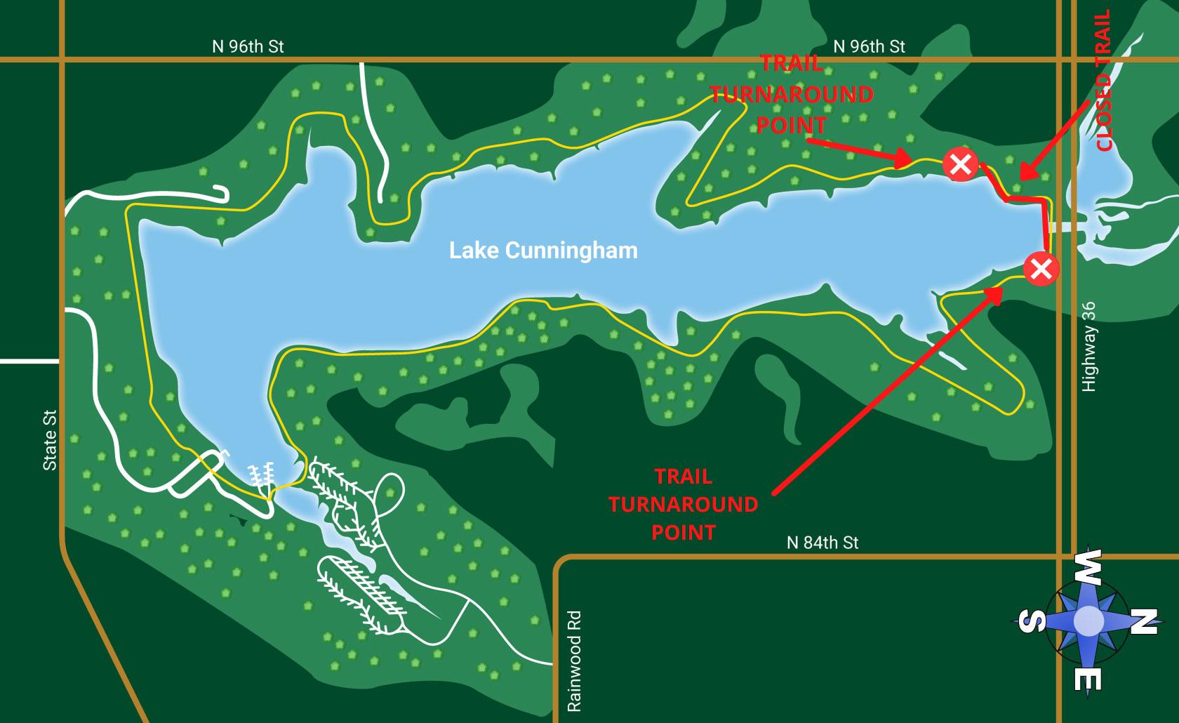 map indicating trail closure